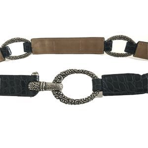 Brighton Navy Blue Leather Belt Silver-tone 36